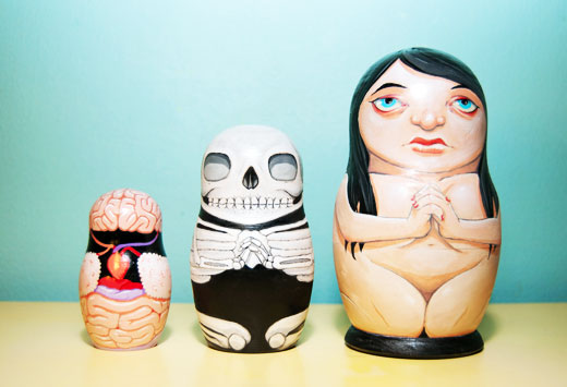 The cleverest nesting dolls I've ever seen, made by artist/illustrator Jason Leveque