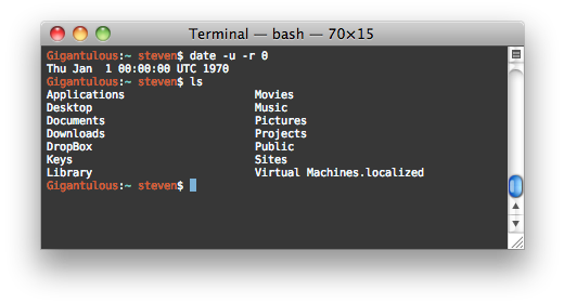 The Terminal application on OS X