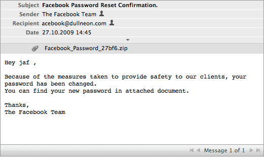 Facebook always think of their users' safety, which is why they must be securely sending passwords as an attachment