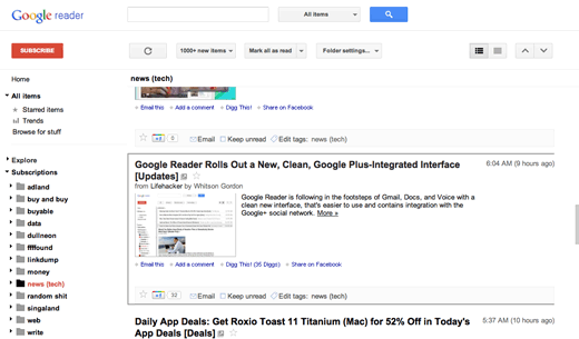 A screenshot of the new Google Reader with a Lifehacker article on the new Google Reader