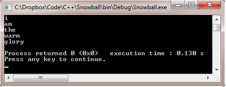 Snowball creates a poem in which each line is a single word, and each successive word is one letter longer