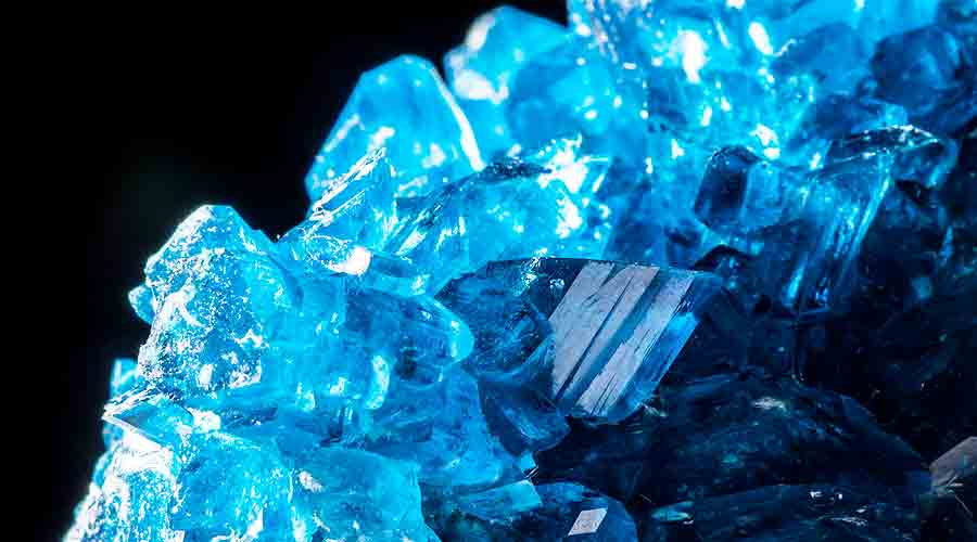 Chalcanthite is a richly-colored blue/green water-soluble sulfate mineral (CuSO4·5H2O)
